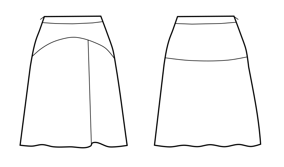 Skirt With Yoke And An Asymmetric Pleat In The Front