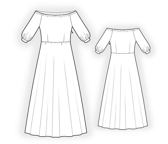 Dress With Open Shoulders - Sewing Pattern #4515. Made-to-measure sewing pattern from Lekala with free online download.