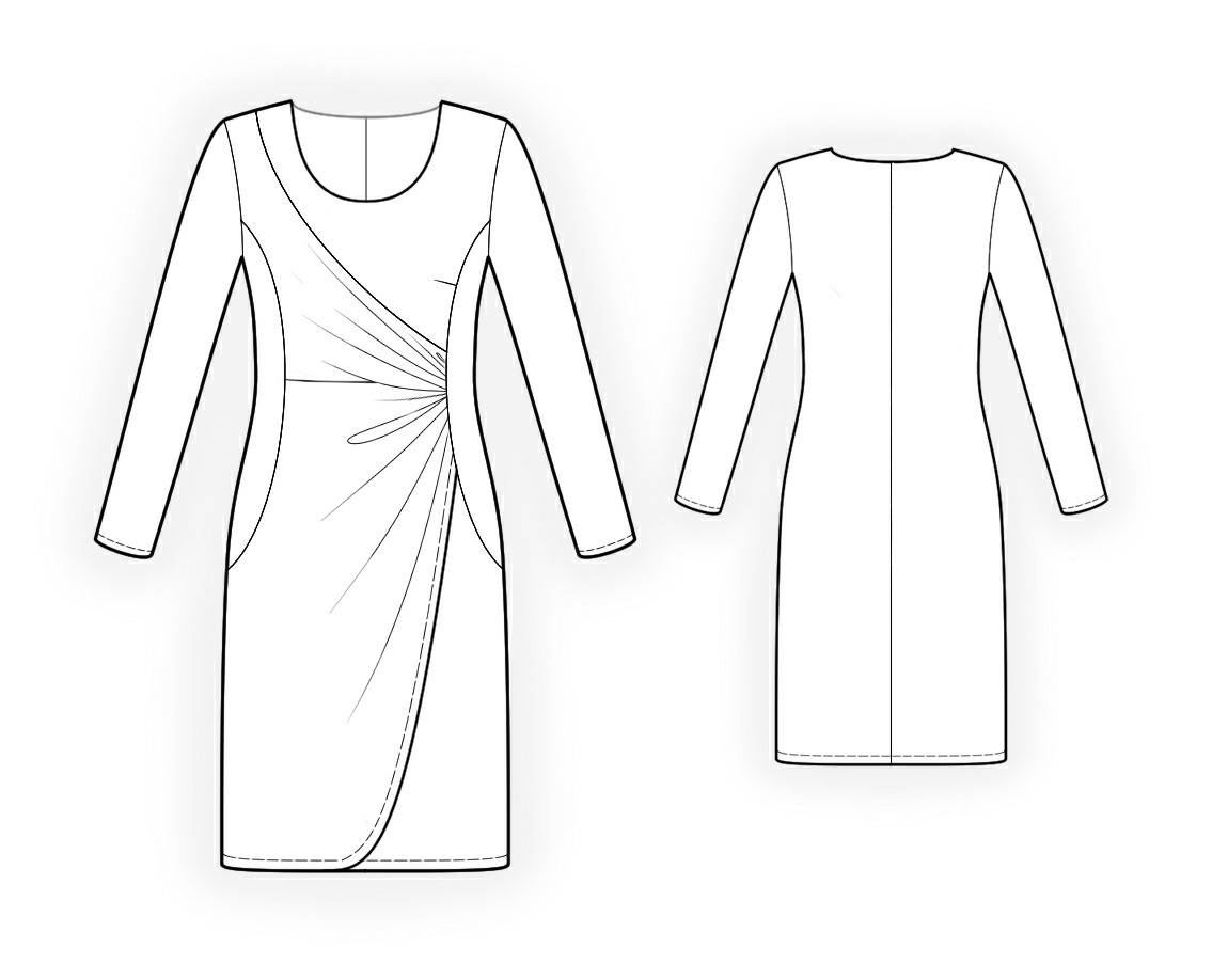 Dress With Draping Sewing Pattern 4094 Made To Measure Sewing Pattern From Lekala With Free Online Download