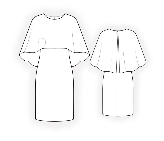 Dress With Cape - Sewing Pattern #4631. Made-to-measure sewing ...