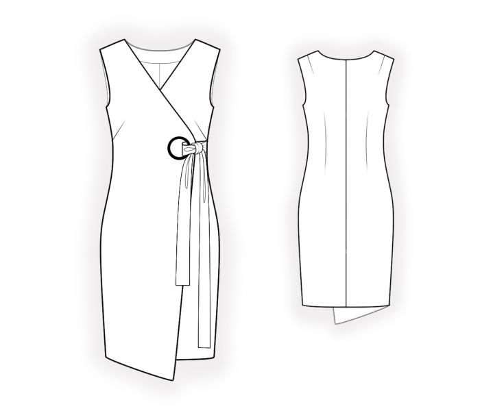 Dress With Wrap - Sewing Pattern #4665. Made-to-measure sewing ...
