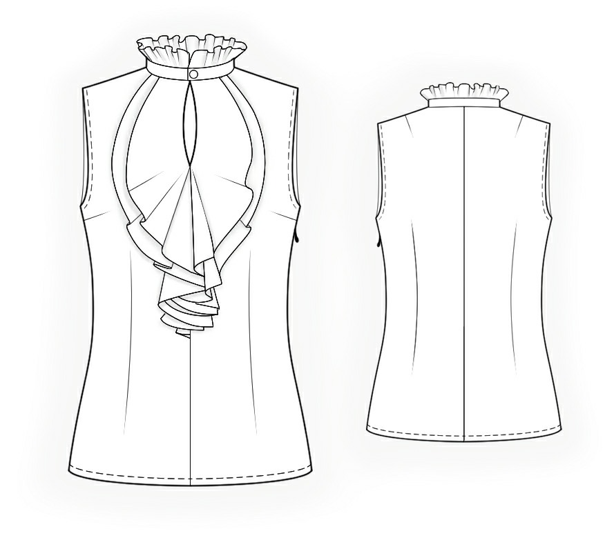 sleeveless blouse with frilled front