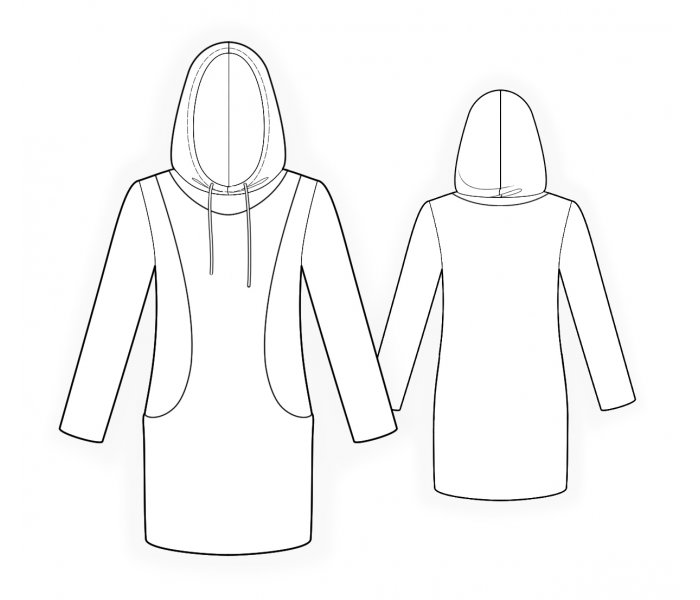 Tunic With Hood - Sewing Pattern #4742. Made-to-measure sewing ...