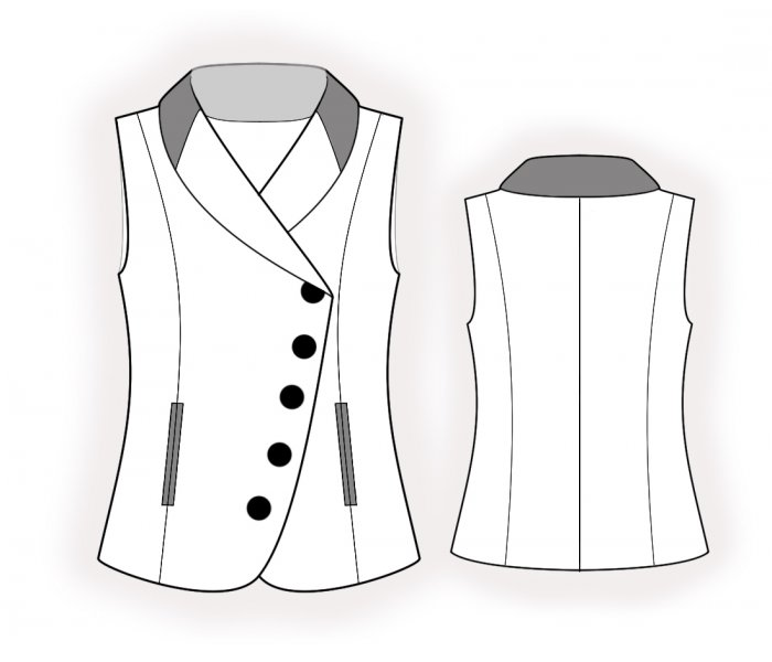 Vest With Asymmetrical Closure - Sewing Pattern #4769. Made-to ...