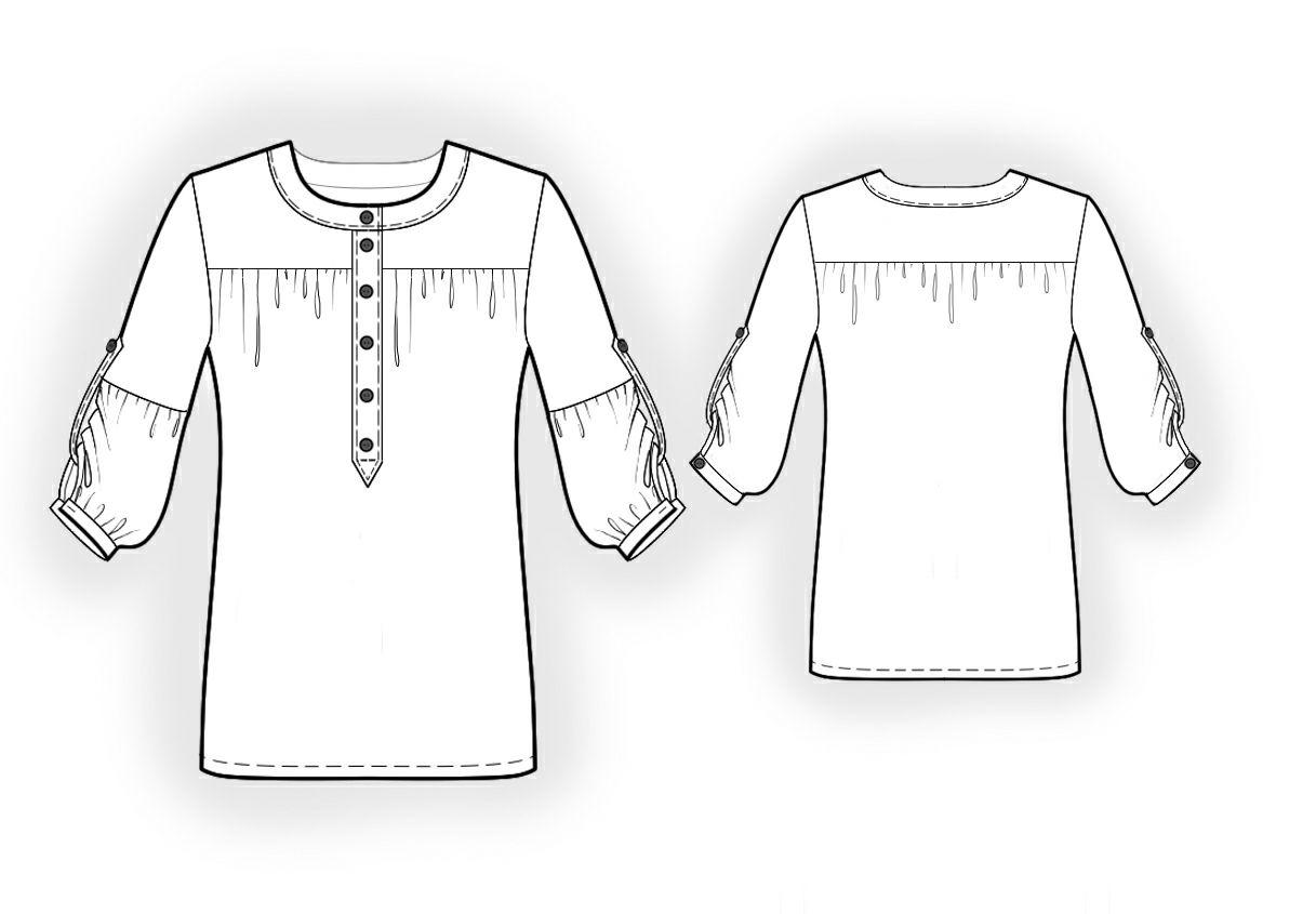 Chiffon Blouse - Sewing Pattern #4013. Made-to-measure sewing ...