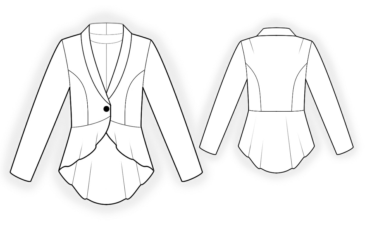Jacket With Peplum - Sewing Pattern #4304. Made-to-measure sewing ...