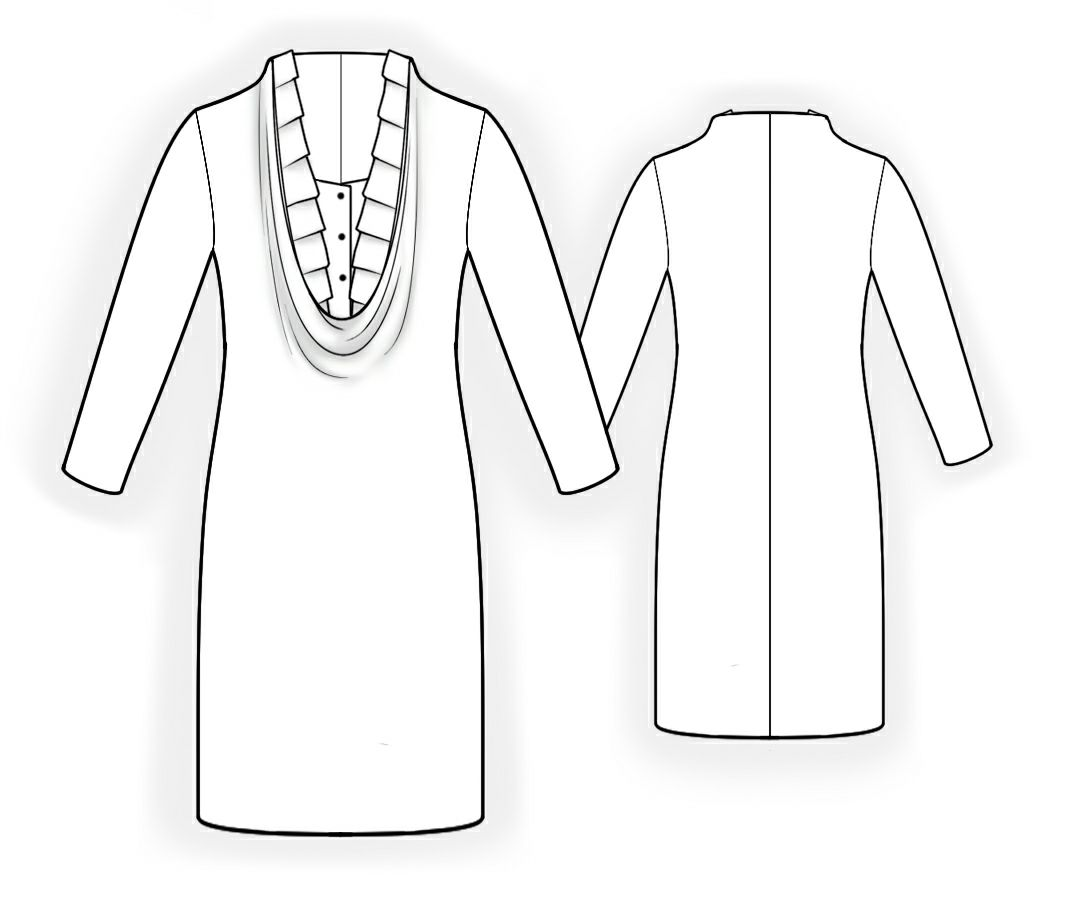 Dress With Decorative Neckline - Sewing Pattern #5940. Made-to ...