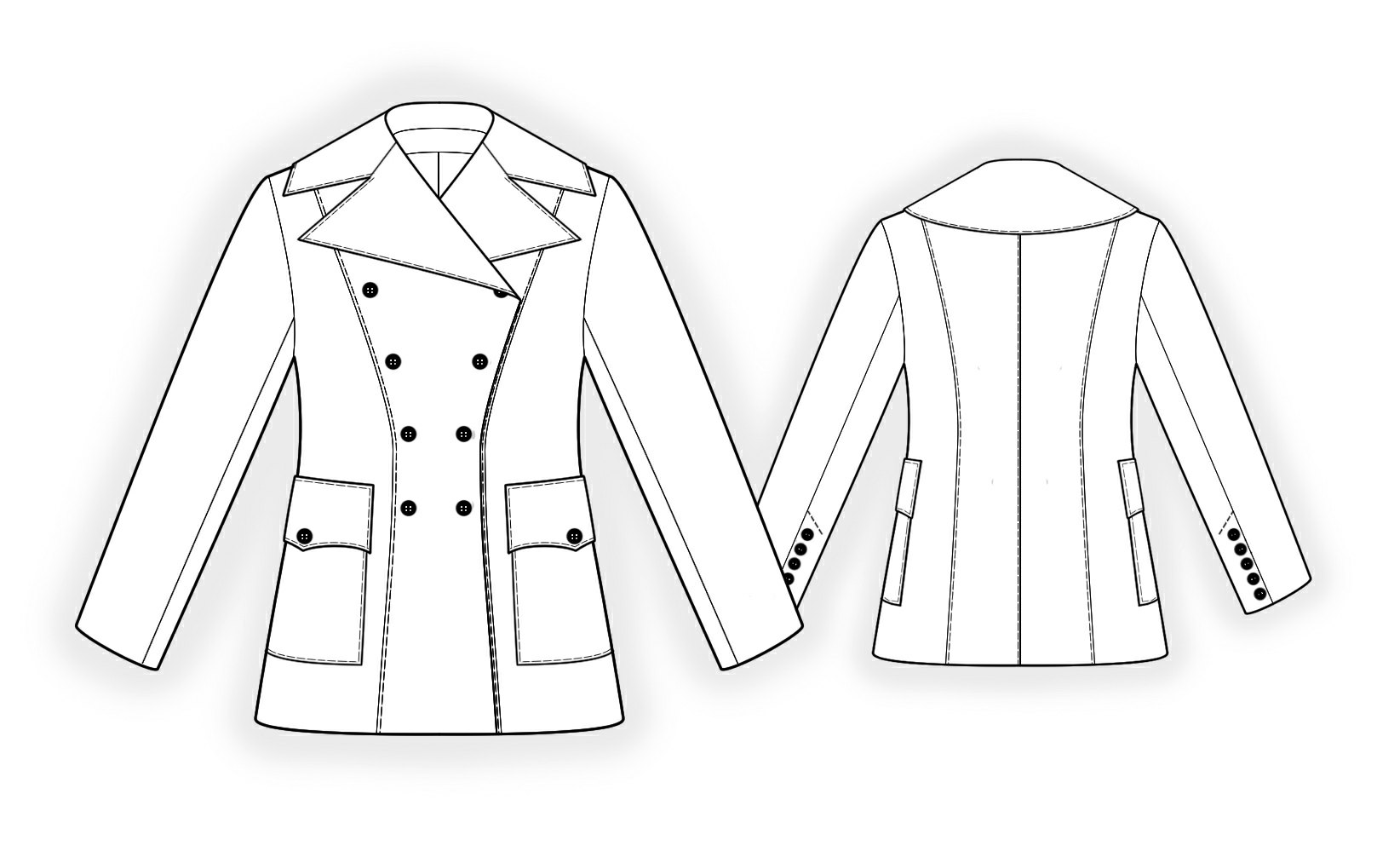 Double-Breasted Coat - Sewing Pattern #5836. Made-to-measure ...