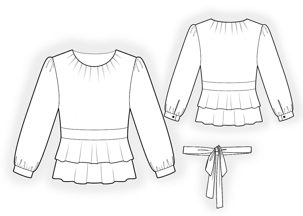 Blouse With Double Peplum Sewing Pattern 4253 Made To
