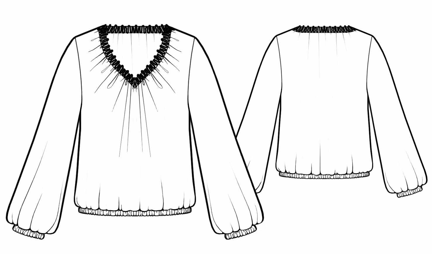 Как сшить блузку на резинке 53