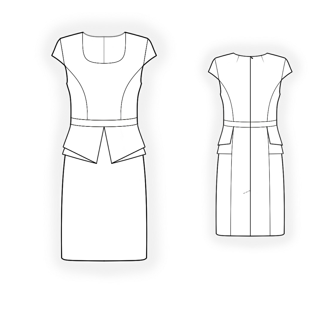 Dress With Peplum - Sewing Pattern #4250. Made-to-measure sewing ...