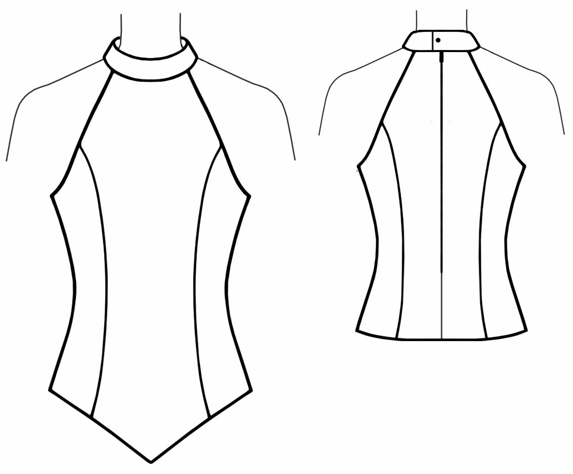 Tops Technical Drawing Top With Halter-neck Sewing