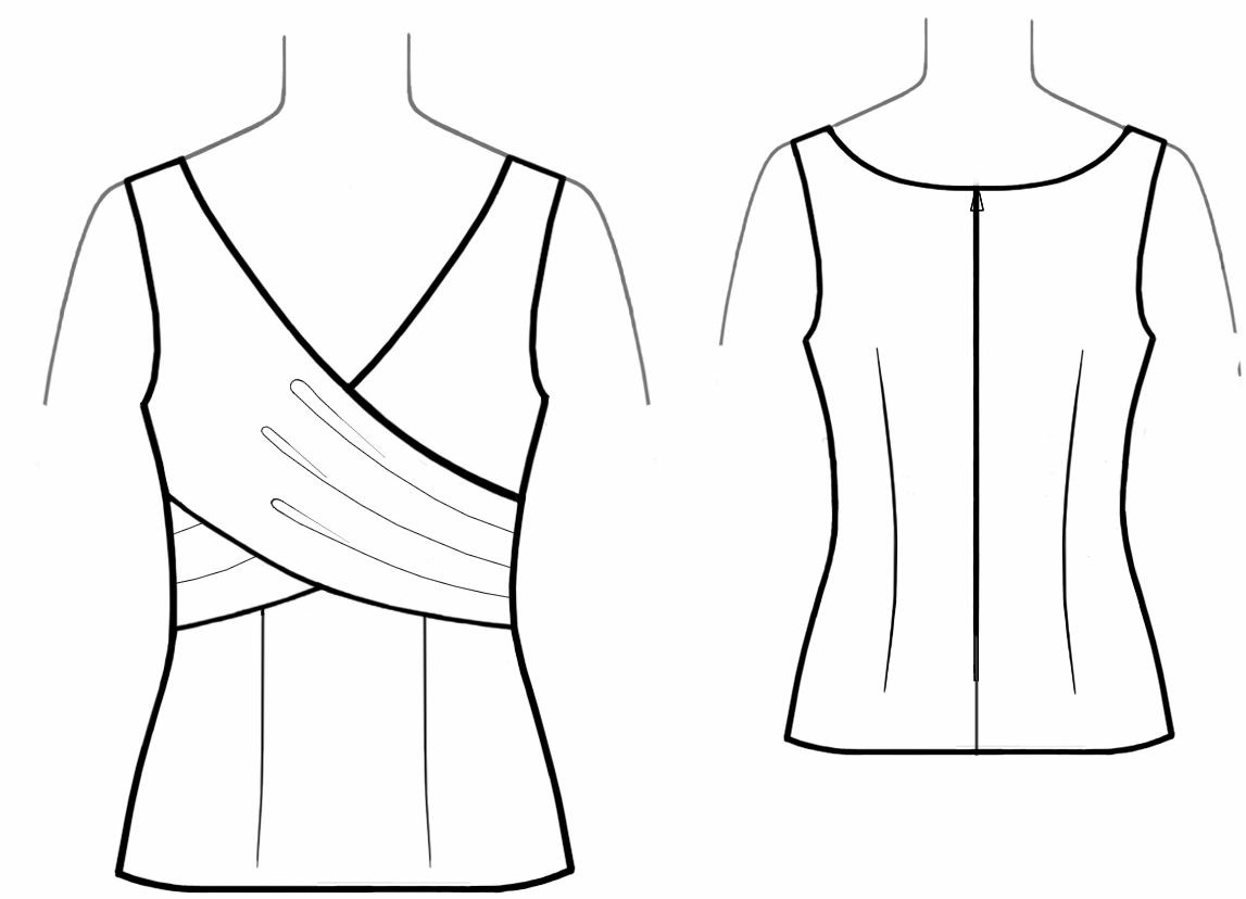 Tops Technical Drawing Top With Wrap Sewing Pattern