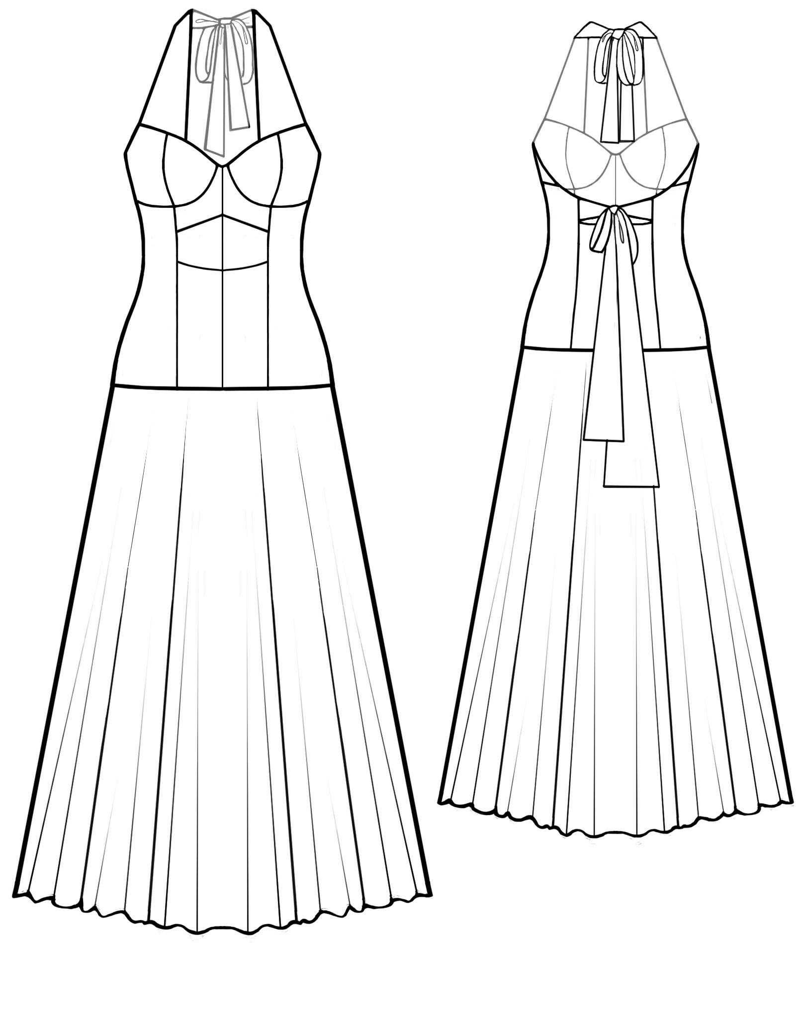 Dress With Bow On Back - Sewing Pattern #5594. Made-to-measure ...