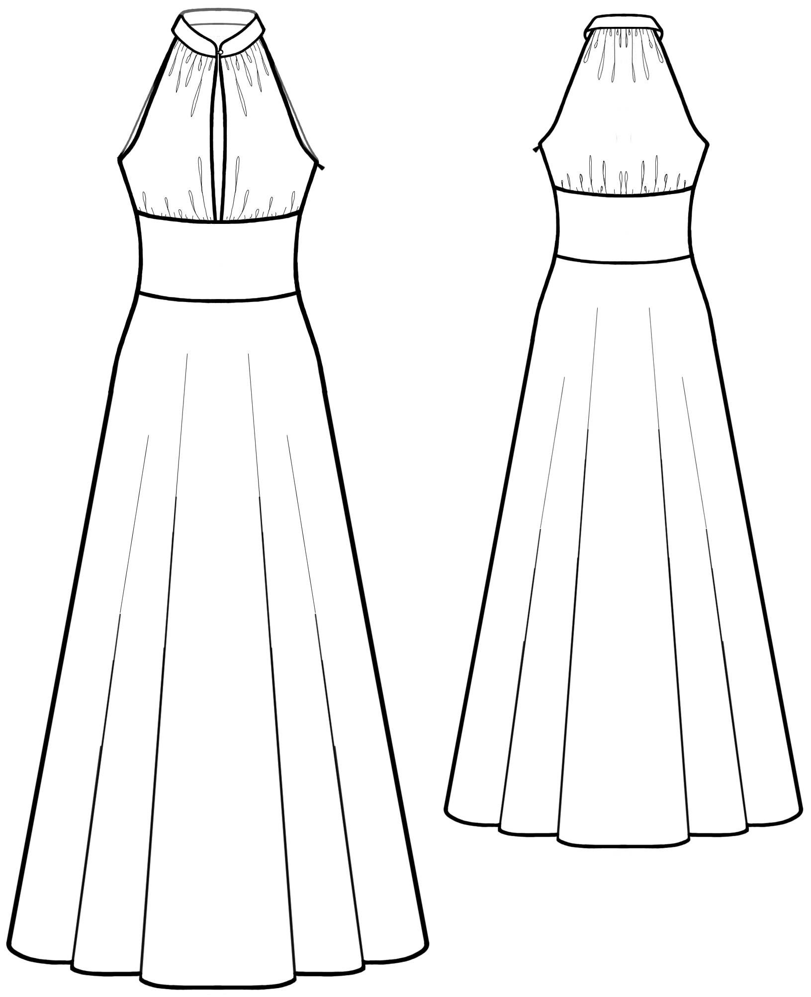 Dres With Stand Collar - Sewing Pattern #5583. Made-to-measure ...