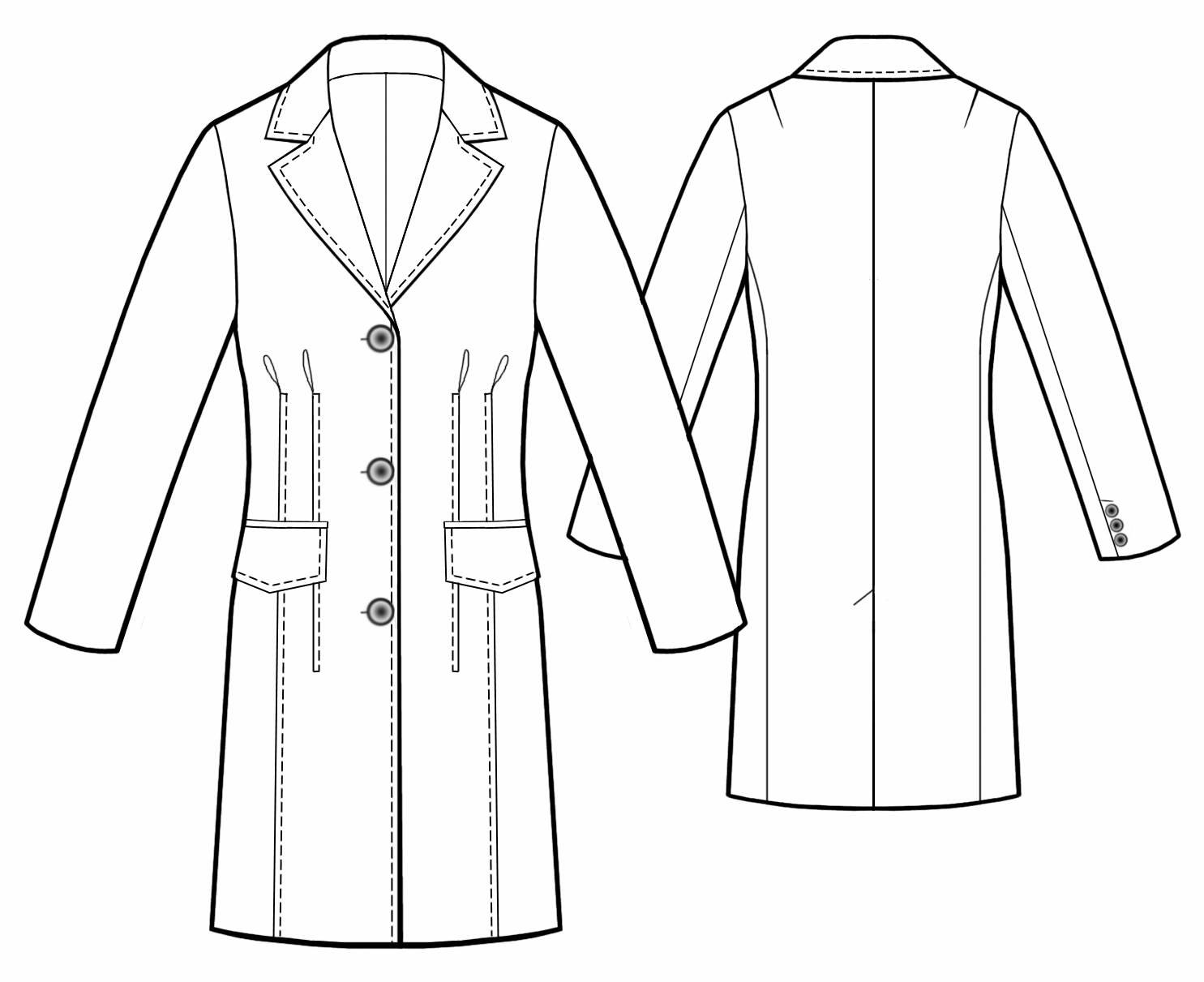Long Jacket - Sewing Pattern #5455. Made-to-measure sewing pattern ...