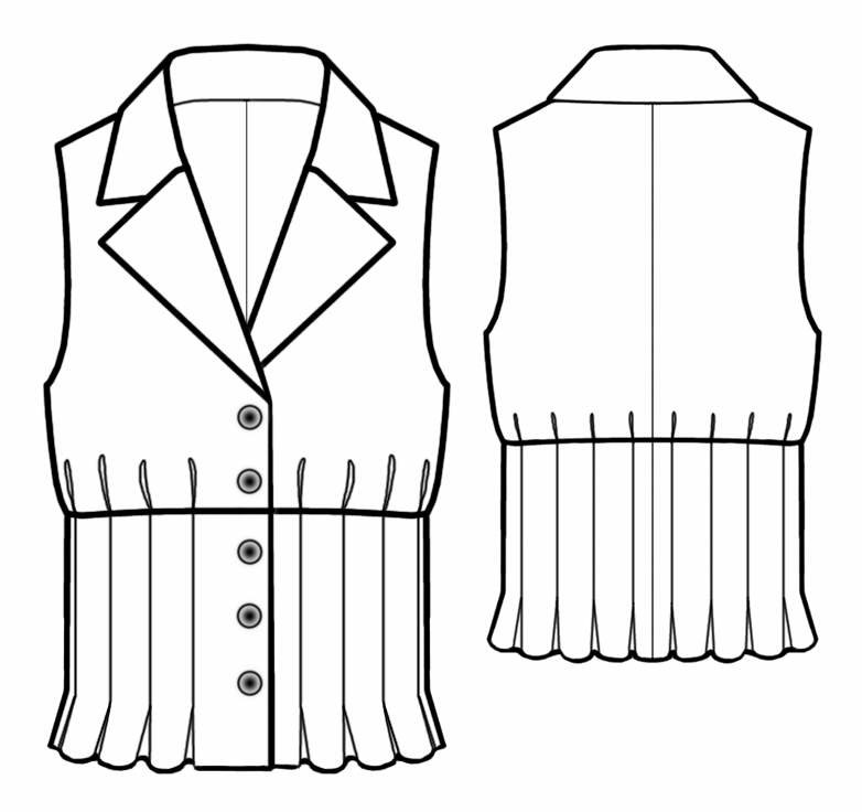 Waistcoat With Tucks - Sewing Pattern #5447. Made-to-measure sewing ...