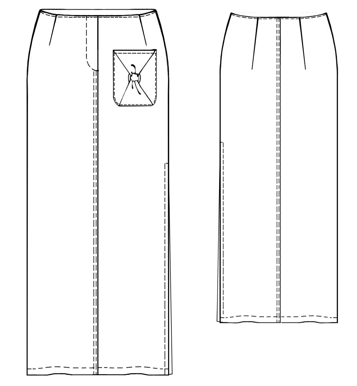 юбки двумя разрезами с выкройка