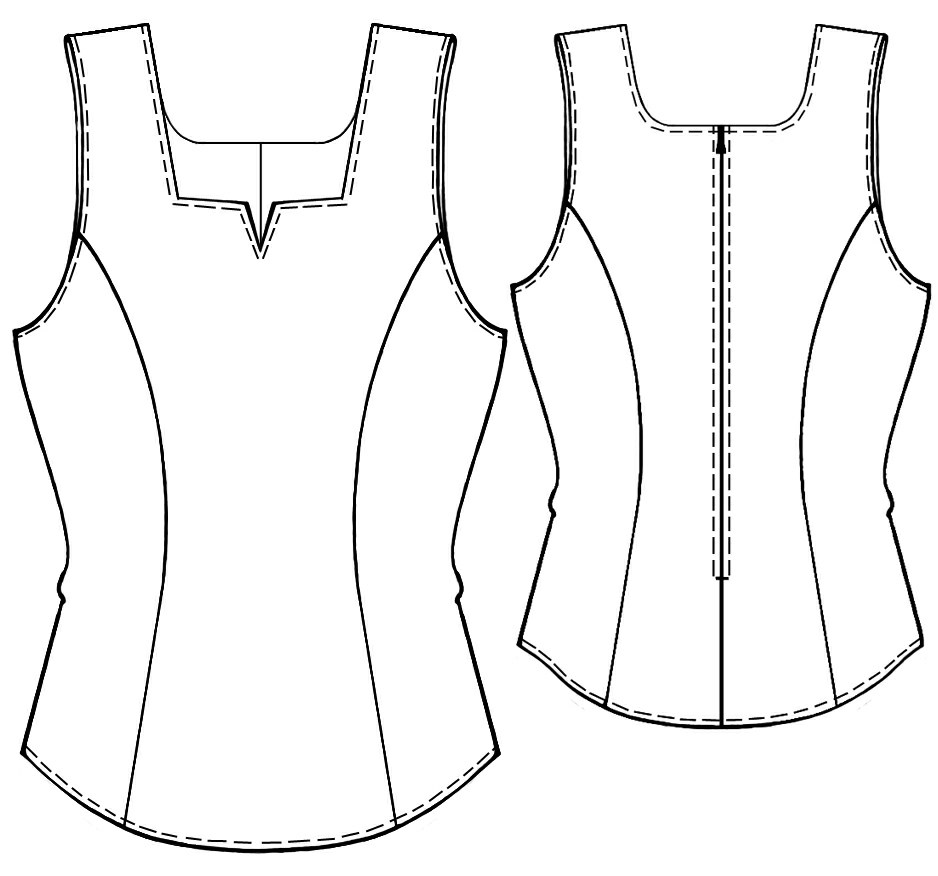 Tops Technical Drawing Top With Square Neckline