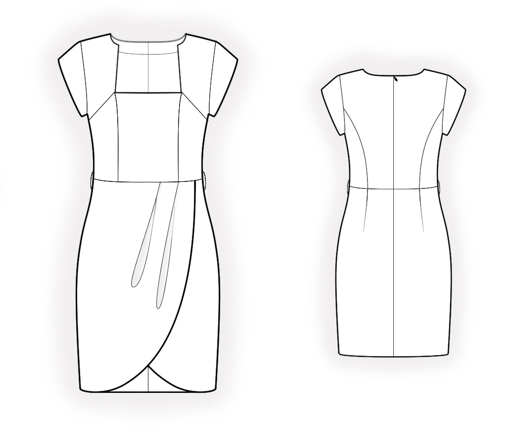Dress With Wrap Skirt - Sewing Pattern #4209. Made-to-measure sewing ...