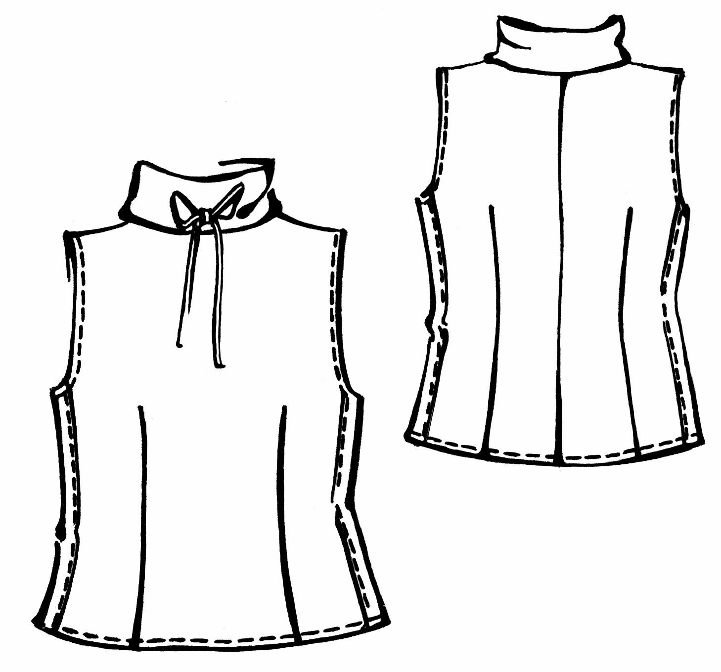 Top With High Collar - Sewing Pattern #5285. Made-to-measure sewing ...